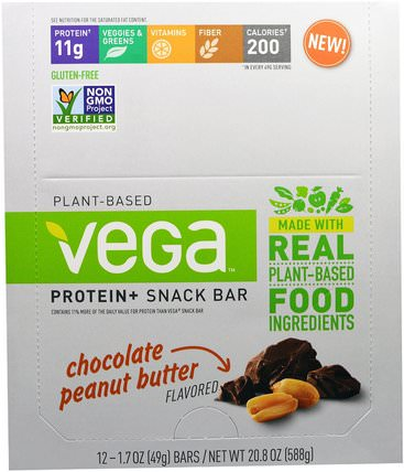 Plant-Based Protein and Snack Bar, Chocolate Peanut Butter, 12 Bars, 1.7 oz (49 g) Each by Vega, 運動,蛋白質棒 HK 香港