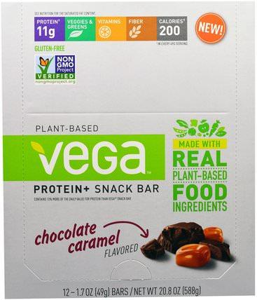 Vega, Snack Bar, Chocolate Caramel, 12 Bars, 1.48 oz (42 g) Each 運動,蛋白質棒