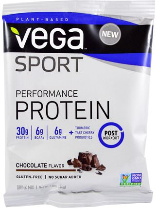 Sport, Performance Protein Drink Mix, Chocolate Flavor, 1.6 oz (44 g) by Vega, 健康 HK 香港