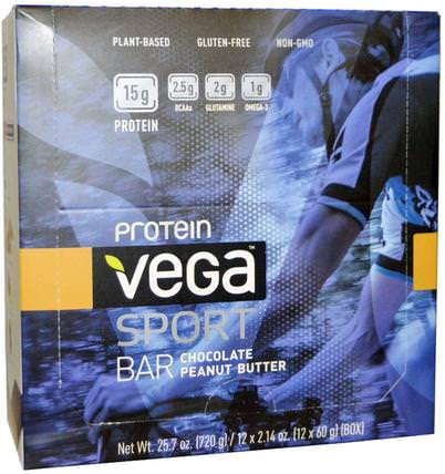 Sport Protein Bar, Chocolate Peanut Butter, 12 Bars, 2.14 oz (60 g) Each by Vega, 運動,蛋白質棒 HK 香港