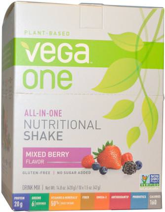 Vega One, All-in-One Nutritional Shake, Mixed Berry Flavor, 10 Packets, 1.5 oz (42 g) Each by Vega, 補品,超級食品 HK 香港