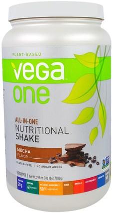 Vega, Vega One Shake, Mocha, 29.5 oz (836 g) 運動,補品,蛋白質