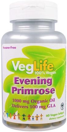 VegLife, Evening Primrose, 1000 mg, 60 Vegan Softgels 補充劑,efa omega 3 6 9(epa dha),月見草油,月見草油軟膠囊
