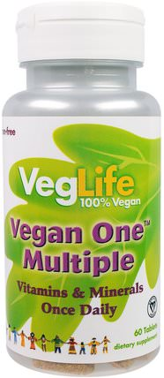 Vegan One Multiple, Iron Free, 60 Tablets by VegLife, 維生素,多種維生素 HK 香港