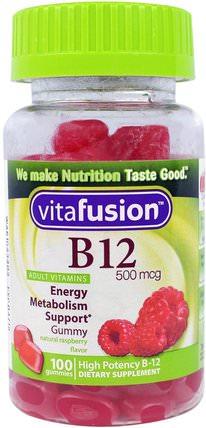 VitaFusion, B12, Natural Raspberry Flavor, 500 mcg, 100 Gummies 維生素,維生素B,維生素b12,熱敏性產品