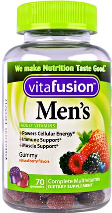 Mens Complete Multivitamin, Natural Berry Flavors, 70 Gummies by VitaFusion, 維生素,男性多種維生素,gummies HK 香港