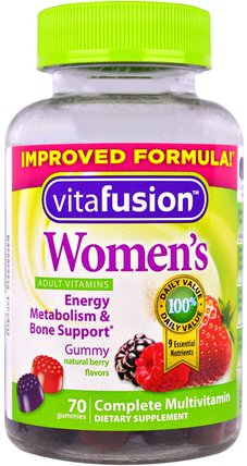 Womens Complete Multivitamin, Natural Berry Flavors, 70 Gummies by VitaFusion, 維生素,女性多種維生素,gummies HK 香港