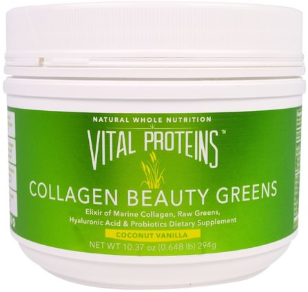 Collagen Beauty Greens, Coconut Vanilla, 10 oz (294 g) by Vital Proteins, 健康,骨骼,骨質疏鬆症,膠原蛋白 HK 香港