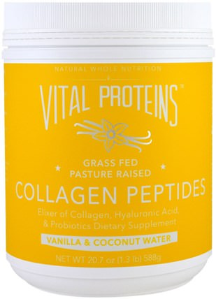 Collagen Peptides, Vanilla & Coconut Water, 20.7 oz (588 g) by Vital Proteins, 補充劑,蛋白質,骨骼,骨質疏鬆症,膠原蛋白 HK 香港