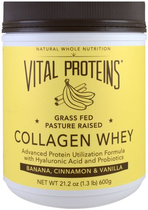 Collagen Whey, Banana, Cinnamon & Vanilla, 21.2 oz (600 g) by Vital Proteins, 補充劑,乳清蛋白,骨,骨質疏鬆症,膠原蛋白 HK 香港