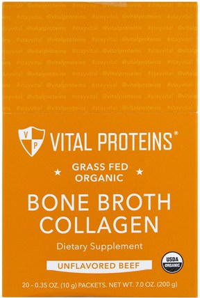 Grass Fed Organic Bone Broth Collagen, Unflavored Beef, 20 Packets, 0.35 oz (10 g) Each by Vital Proteins, 健康,骨骼,骨質疏鬆症,膠原蛋白 HK 香港