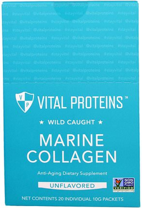Wild Caught, Marine Collagen, Unflavored, 20 Individual Packets (10 g) by Vital Proteins, 健康,骨骼,骨質疏鬆症,膠原蛋白,補充劑 HK 香港