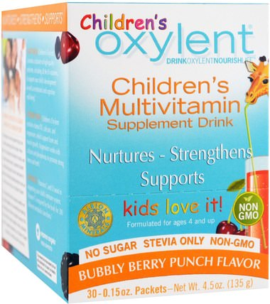 Childrens Oxylent, Multivitamin Supplement Drink, Bubbly Berry Punch, 30 Stick Packets, 4.5 g Each by Vitalah, 維生素,多種維生素,兒童多種維生素 HK 香港
