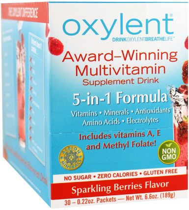 Oxylent, Multivitamin Supplement Drink, Sparkling Berries, 30 Packets, (6.3 g) Each by Vitalah, 運動,電解質飲料補充,液體多種維生素 HK 香港