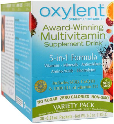 Oxylent, Multivitamin Supplement Drink, Variety Pack, 30 Packets, (5.9 g) Each by Vitalah, 運動,電解質飲料補充,液體多種維生素 HK 香港