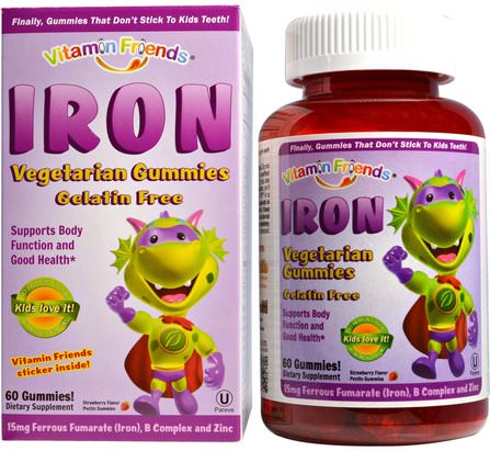 Iron Vegetarian Gummies, Strawberry, 15 mg, 60 Pectin Gummies by Vitamin Friends, 補品,礦物質,鐵,兒童健康,補充兒童 HK 香港