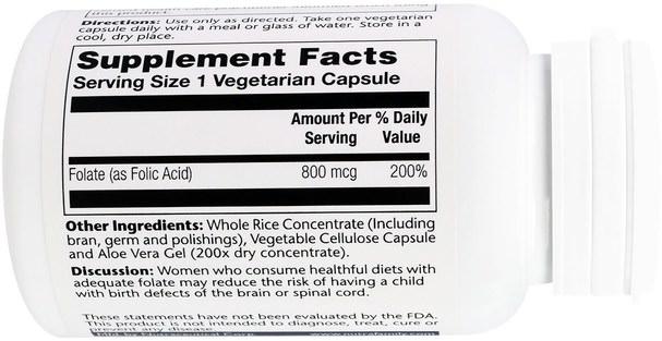 維生素,葉酸 - Solaray, Folic Acid, 800 mcg, 100 Veggie Caps