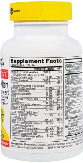 維生素,男性多種維生素 - Super Nutrition, SimplyOne, 50+ Men, Triple Power Multivitamins, Iron Free, 30 Tablets