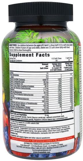 維生素,多種維生素,兒童多種維生素,熱敏性產品 - Irwin Naturals, BerryLicious Super Multi, Sweet Berry, 30 Chewy Fruity Soft Chews