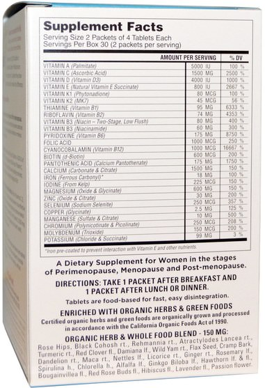 維生素,多種維生素 - Super Nutrition, Before, During and After Menopause Multiple, Antioxidant-Rich Multivitamin, 60 Packets, (4 Tablets) Each