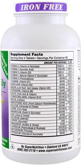維生素,多種維生素,超級食物 - Super Nutrition, Perfect Family, Energizing Multi-Vitamin, Iron Free, 240 Vegetarian Food-Based Tablets