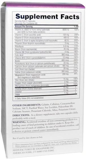維生素,產前多種維生素,女性 - Twinlab, Pre-Natal Care Multi Vitamin Caps, 120 Capsules