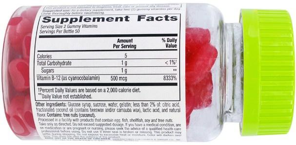 維生素,維生素B,維生素b12,熱敏性產品 - VitaFusion, B12, Natural Raspberry Flavor, 500 mcg, 100 Gummies