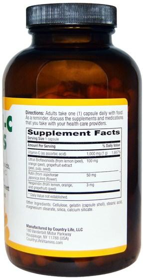 維生素,維生素C生物類黃酮玫瑰果 - Country Life, Maxi-C Caps, 1000 mg, 180 Capsules