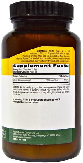 維生素,維生素C粉和水晶 - Country Life, Vitamin C Crystals, 8 oz (226 g)