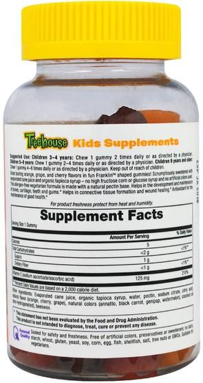 熱敏感產品,維生素,維生素C gummies - Treehouse Kids, Franklin and Friends, Gummies Vitamin C, Mixed Fruit Flavors, 125 mg, 60 Gummies