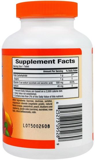 維生素,維生素C,維生素C咀嚼,健康,免疫支持 - Sunkist, Vitamin C, Chewable Mixed Fruit, 500 mg, 90 Tablets
