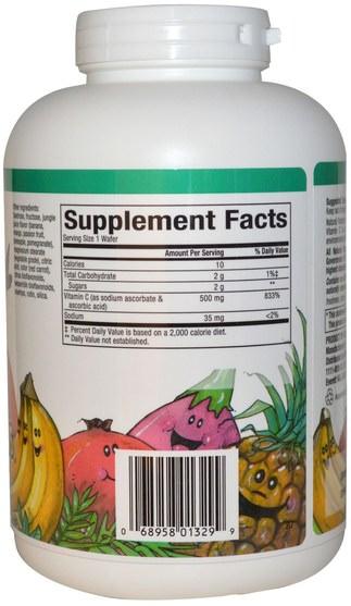 維生素,維生素C,維生素C咀嚼片 - Natural Factors, C 500 mg, Jungle Juice Flavor, 180 Chewable Wafers