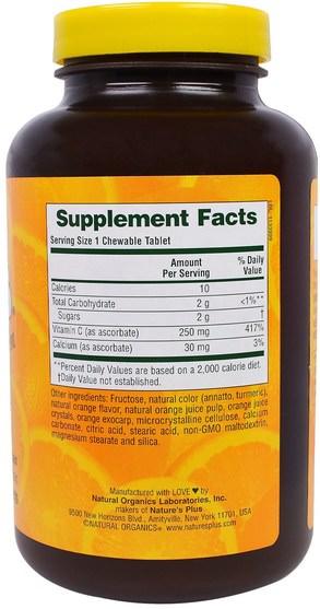 維生素,維生素C,維生素C咀嚼片 - Natures Plus, Love Buffs, Chewable Buffered Vitamin C, Natural Orange Flavor, 250 mg, 90 Tablets