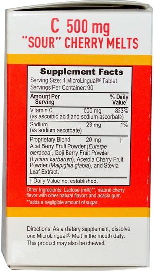 維生素,維生素C,維生素C咀嚼片 - Superior Source, C Sour Cherry Melts, Sugar Free, 500 mg, 90 MicroLingual Instant Dissolve Melts