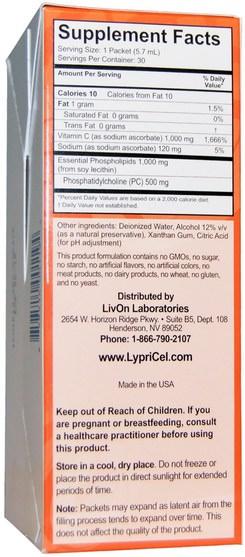 維生素,維生素c,維生素C脂質體 - LypriCel, Liposomal Vitamin C, 30 Packets, 0.2 fl oz (5.7 ml) Each