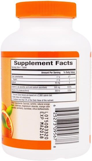 維生素,維生素c,維生素d3 - Sunkist, Vitamin C + D, Chewable Juice Orange, 500 mg / 500 IU, 80 Chewable Tablets