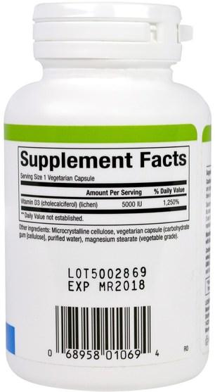 維生素,維生素D3,骨骼,骨質疏鬆症 - Natural Factors, Vegan Vitamin D3, 5000 IU, 60 Veggie Caps