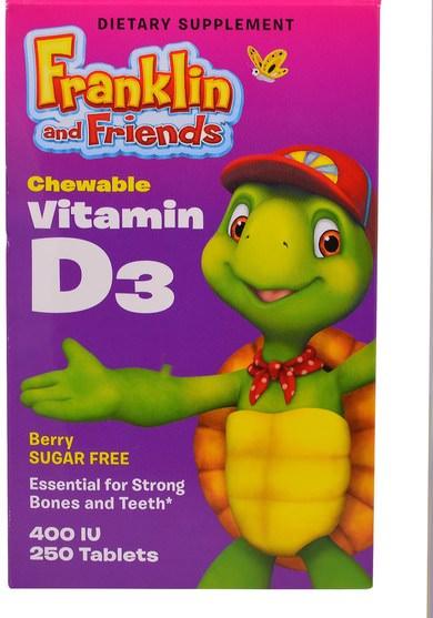 維生素,維生素D3,兒童補品 - Treehouse Kids, Franklin and Friends, Chewable Vitamin D3, Berry, 400 IU, 250 Tablets