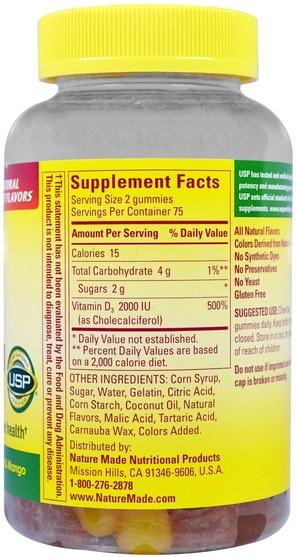 維生素,維生素D3,維生素D gummies - Nature Made, Adult Gummies, Vitamin D3, Strawberry, Peach & Mango, 150 Gummies