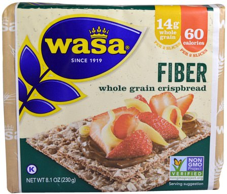 Whole Grain Crispbread, Fiber, 8.1 oz (230 g) by Wasa Flatbread, 食物,餅乾和麵包棒 HK 香港