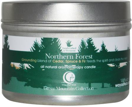 All Natural Aromatherapy Candle, Northern Forest, 3 oz (85 g) by Way Out Wax, 洗澡,美容,蠟燭 HK 香港