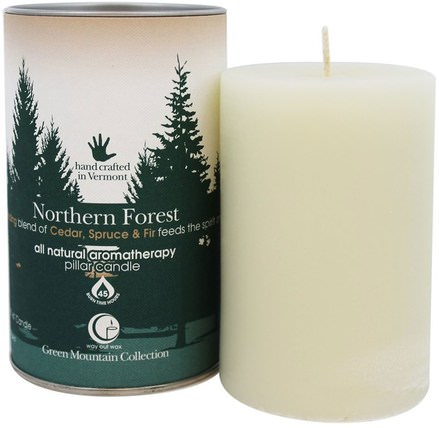 Green Mountain Collection, Pillar Candle, Northern Forest, One 2.75 x 4 Candle by Way Out Wax, 洗澡,美容,蠟燭 HK 香港