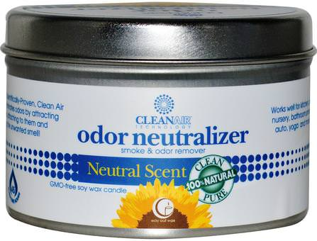 Odor Neutralizer Candle, Natural Scent, 6.7 oz (190 g) by Way Out Wax, 家,空氣清新劑除臭劑,浴,蠟燭 HK 香港