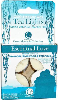 Tea Lights, Escentual Love, 4 Candles, 0.6 oz (16 g) Each by Way Out Wax, 洗澡,美容,蠟燭 HK 香港
