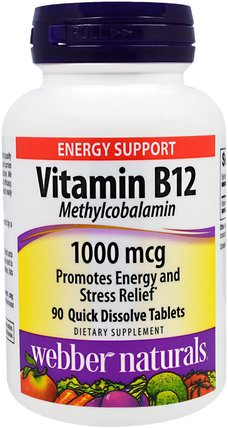 Vitamin B12, Methylcobalamin, 1000 mcg, 90 Quick Dissolve Tablets by Webber Naturals, 維生素,維生素b,維生素b12,維生素b12 - 甲基鈷胺素,補充劑 HK 香港