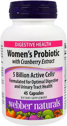 Womens Probiotic with Cranberry Extract, 5 Billion Active Cells, 45 Capsules by Webber Naturals, 補充劑,益生菌,蔓越莓 HK 香港