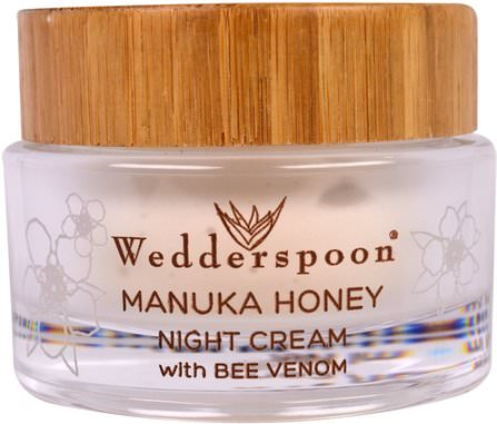 Manuka Honey Night Cream with Bee Venom, 1.7 fl oz (50 ml) by Wedderspoon, 美容,面部護理,麥盧卡蜂蜜護膚,面霜,乳液 HK 香港