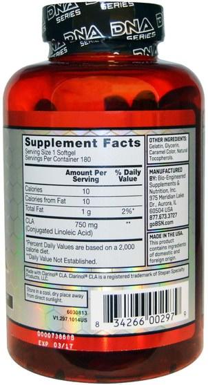 減肥,飲食,cla(共軛亞油酸) - BSN, DNA Series, CLA DNA, 180 Softgels