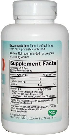 減肥,飲食,cla(共軛亞油酸),cla - Natures Way, CLA-1300, Max Potency, 90 Softgels