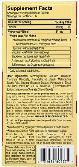 減肥,飲食,運動 - Muscletech, Pro-Clinical Hydroxycut, 99% Caffeine Free, 72 Rapid Release Caplets